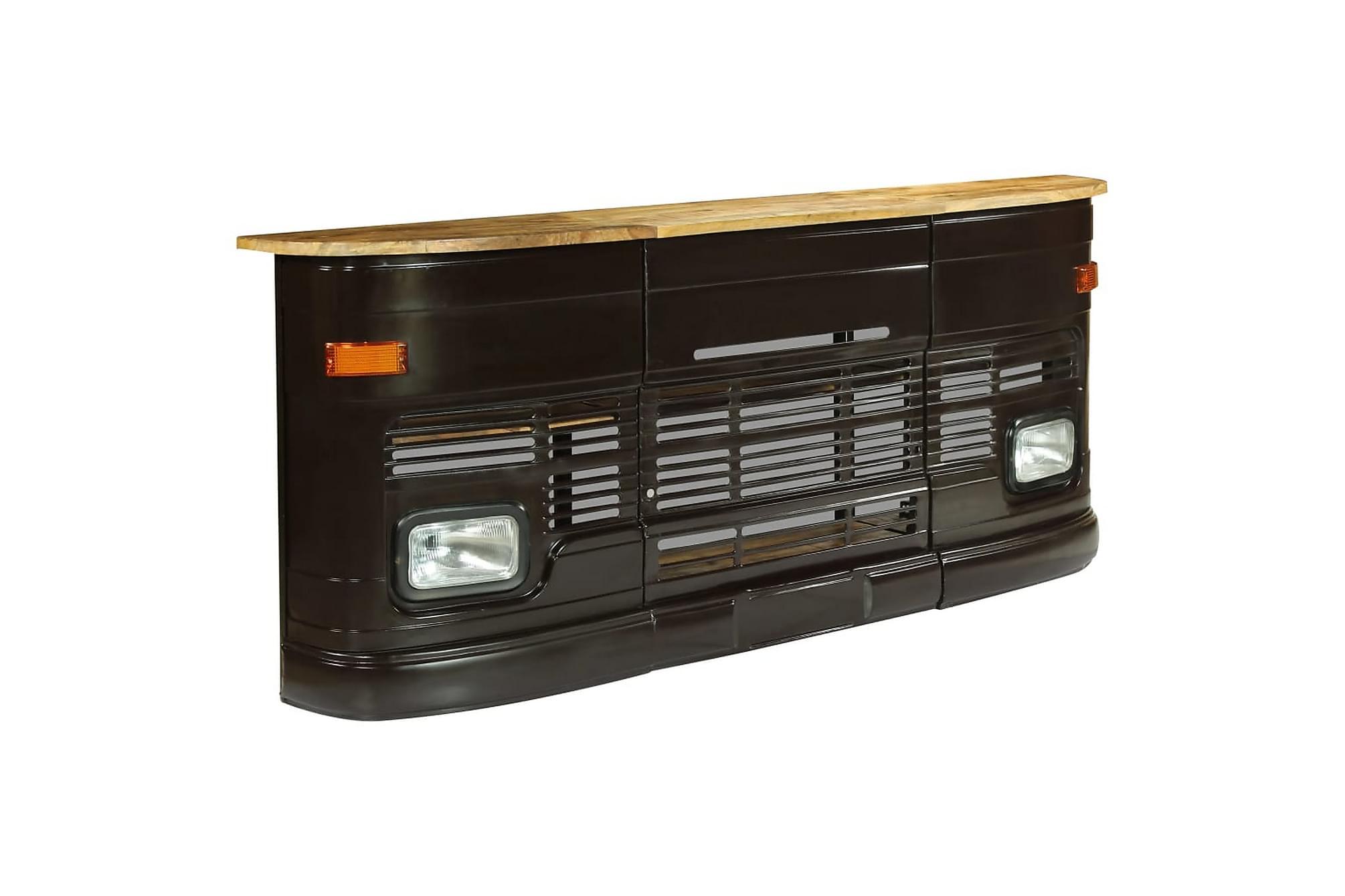 Barbord Massivt mangoträlastbil mörkgrå