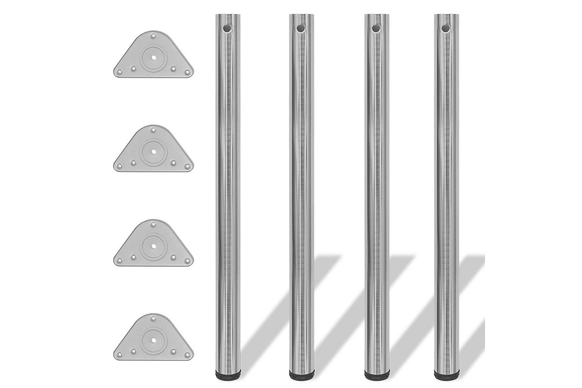 4 Justerbara raka bordsben i borstad nickel 870 mm, Bordsben & tillbehör