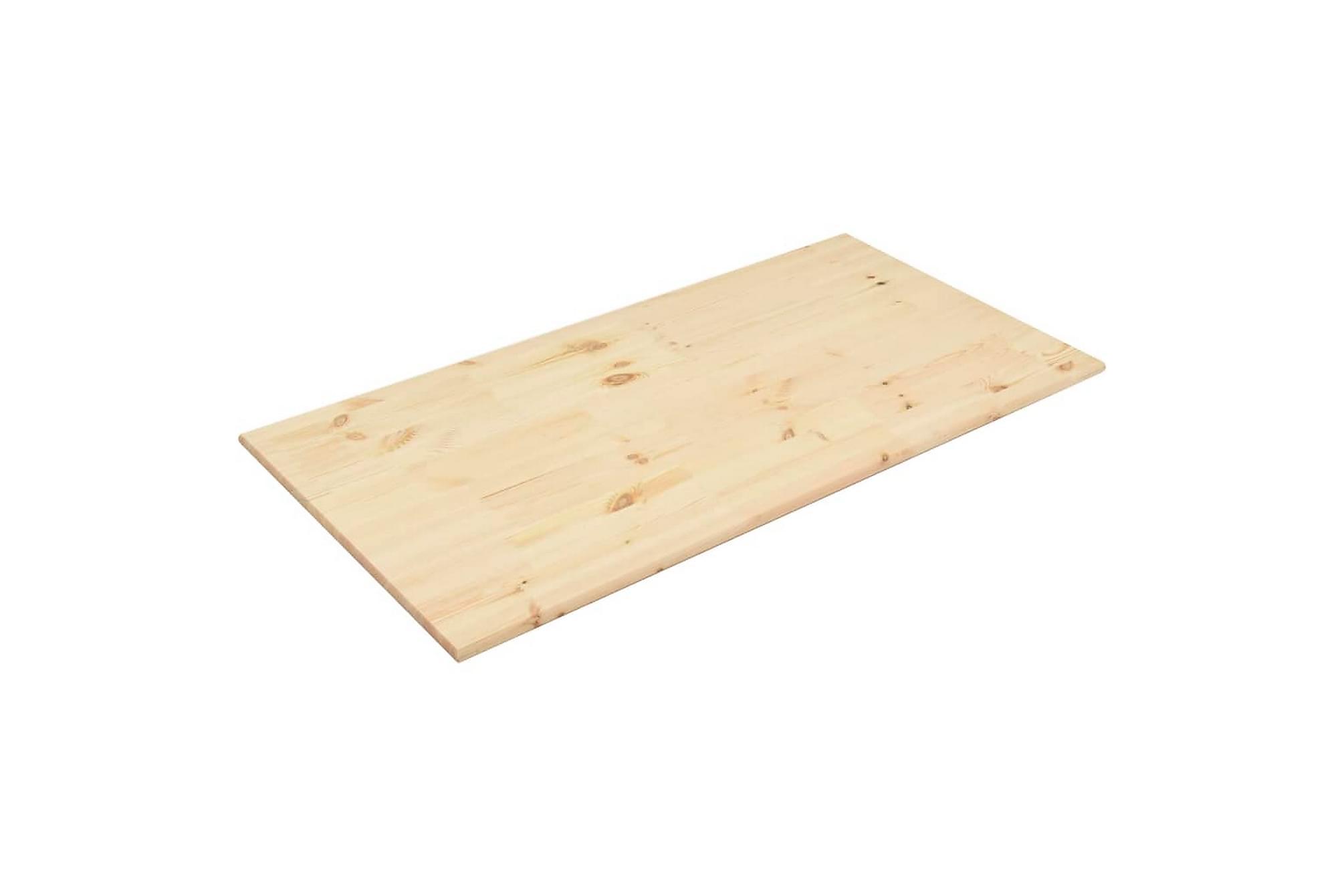Bordsskiva naturlig furu rektangulär 100x60x2,5 cm, Bordsben & tillbehör