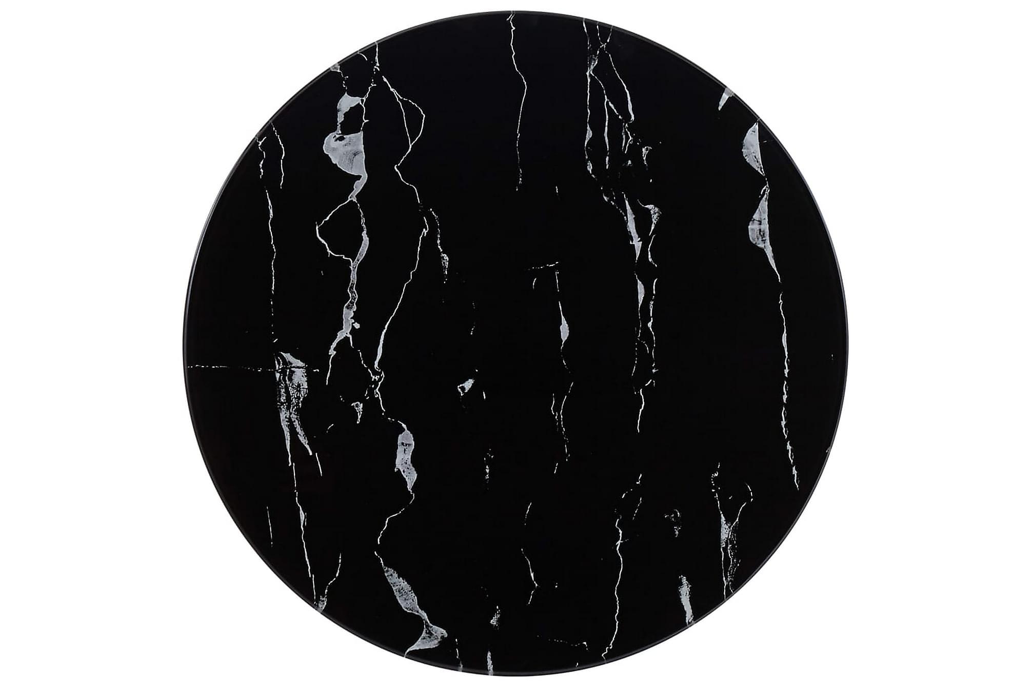 Bordsskiva svart Ã?50 cm glas med marmortextur, Bordsben & tillbehör