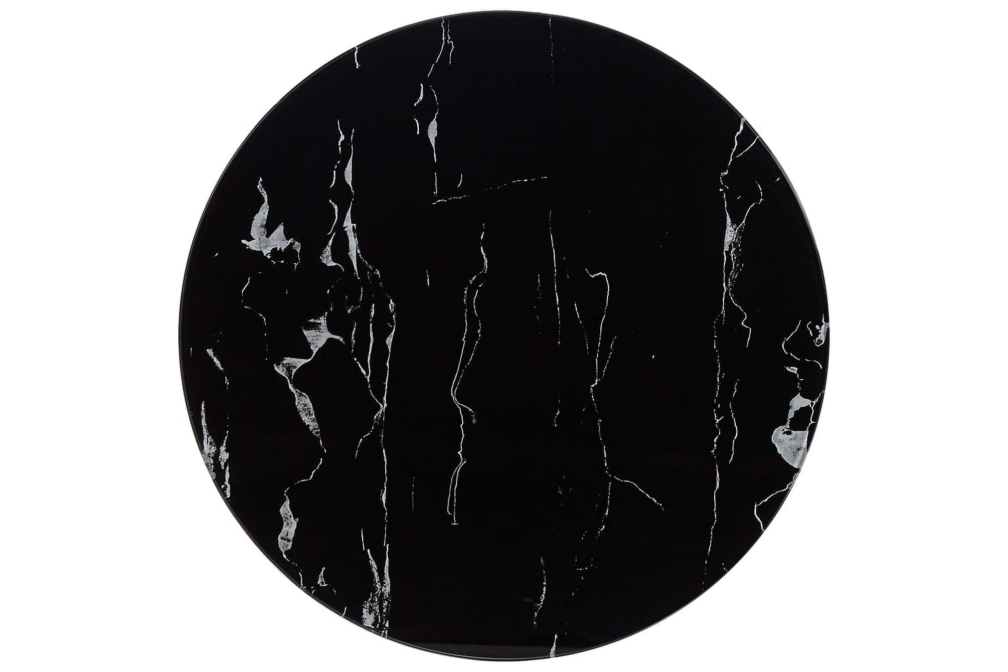 Bordsskiva svart Ã?60 cm glas med marmortextur, Bordsben & tillbehör