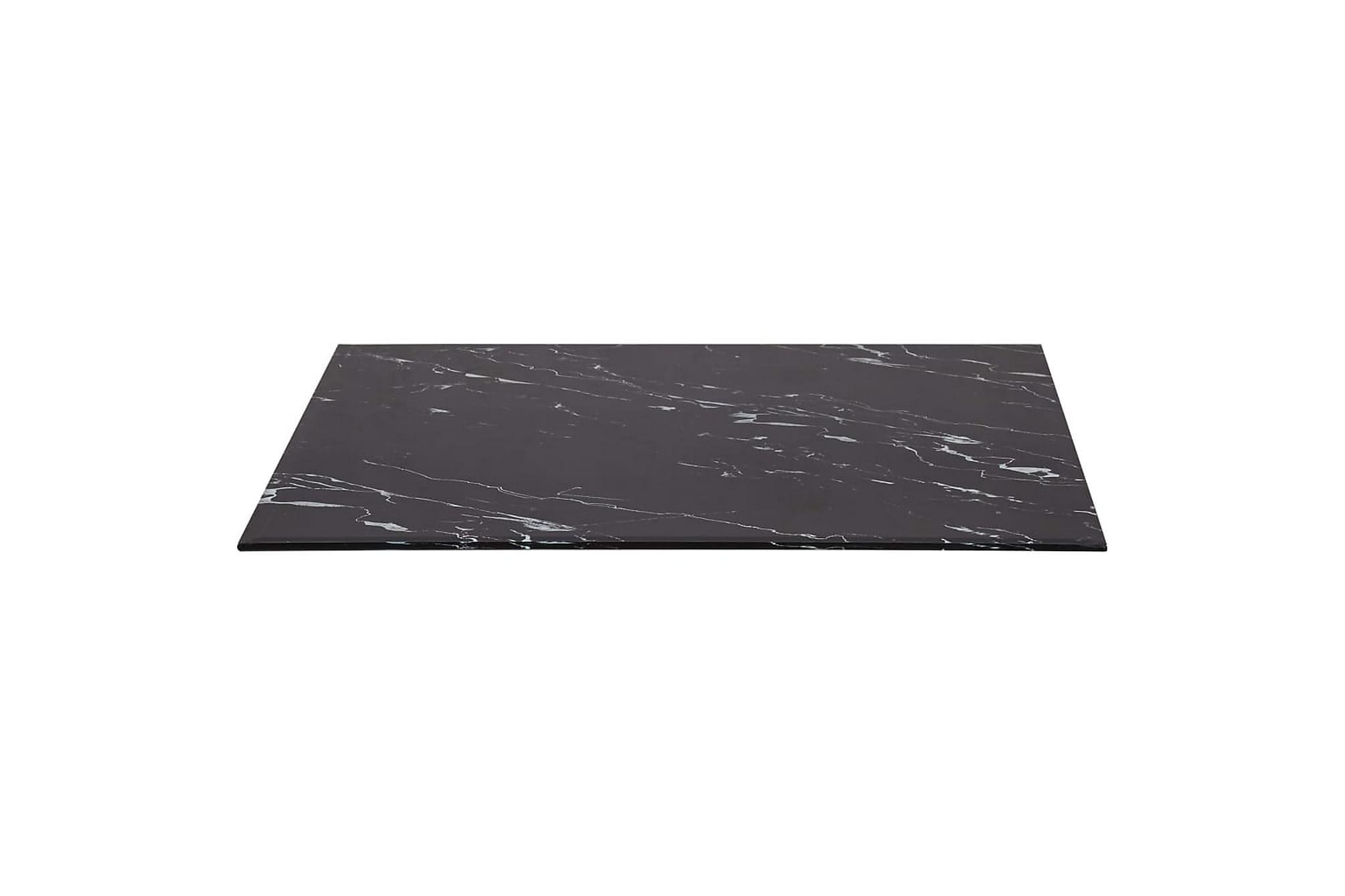 Bordsskiva svart rektangulär 100x62 cm glas med marmortextur, Bordsben & tillbehör