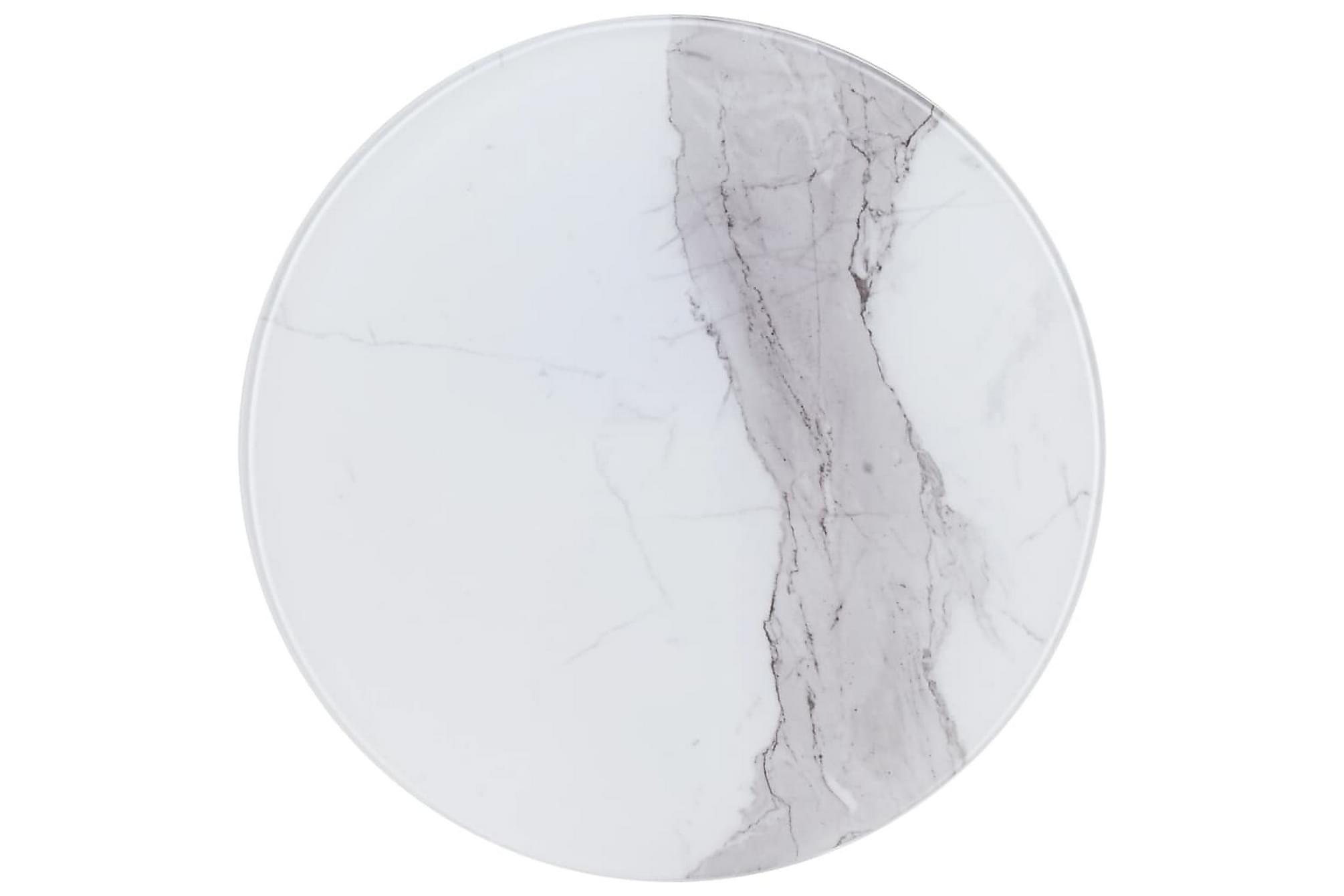 Bordsskiva vit Ã?50 cm glas med marmortextur, Bordsben & tillbehör