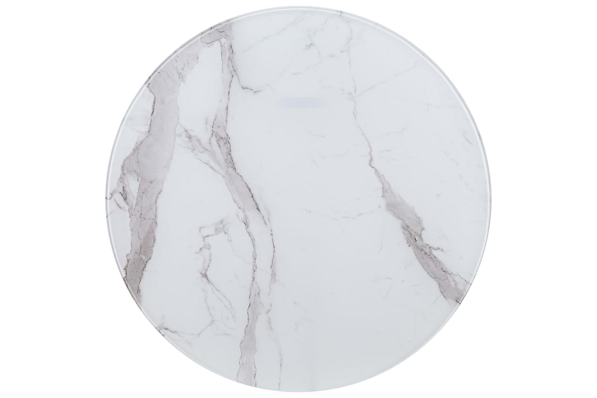 Bordsskiva vit Ã?80 cm glas med marmortextur, Bordsben & tillbehör