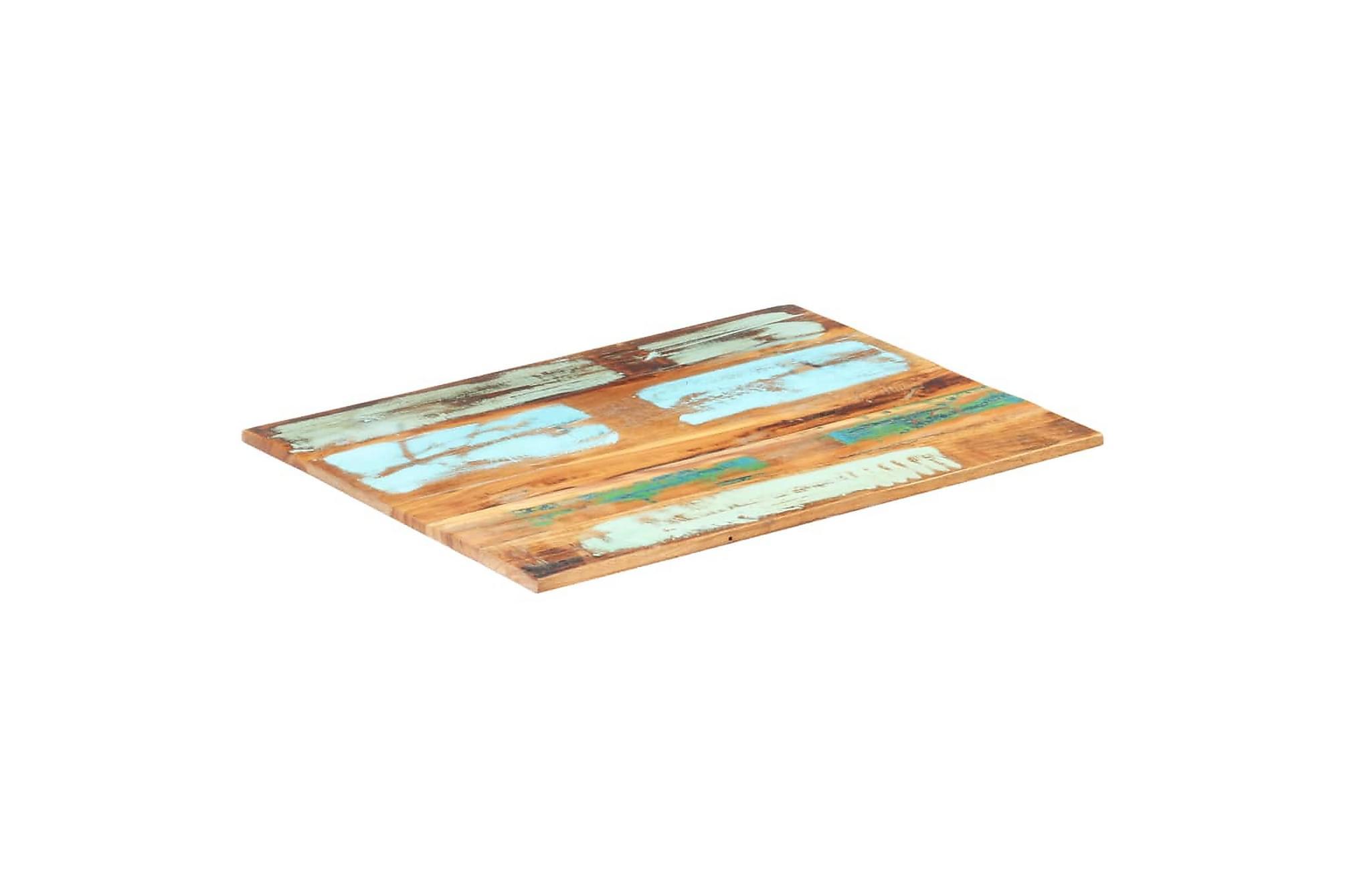 Rektangulär bordsskiva 60x80cm 15-16 mm återvunnet trä