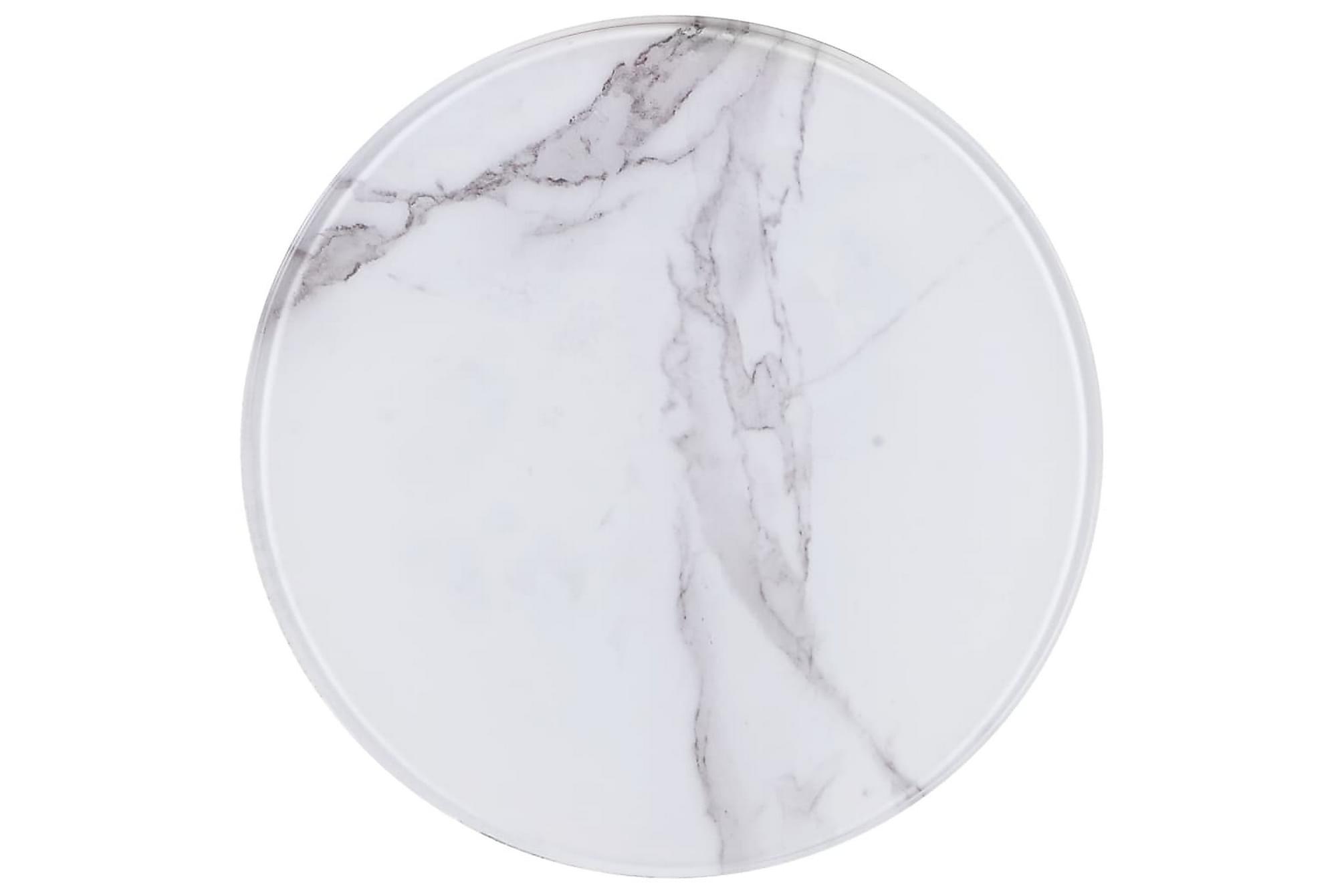 Bordsskiva vit Ã?30 cm glas med marmortextur, Brickbord