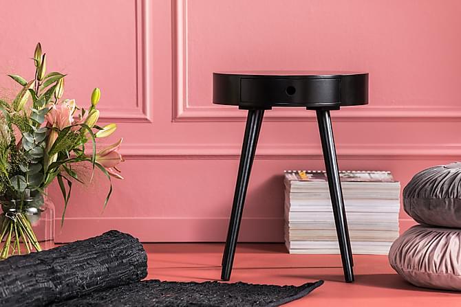 REGINA Lampbord med Låda 40 Runt Svart - Möbler & Inredning - Bord - Brickbord