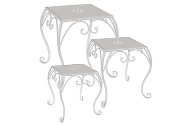 Småbord Fyrkantigta Set om 3 Metall Vit