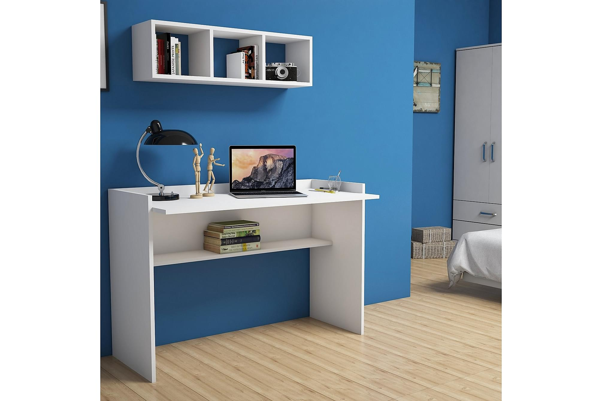 BRATCHER Skrivbord 118 cm Vit, Datorbord