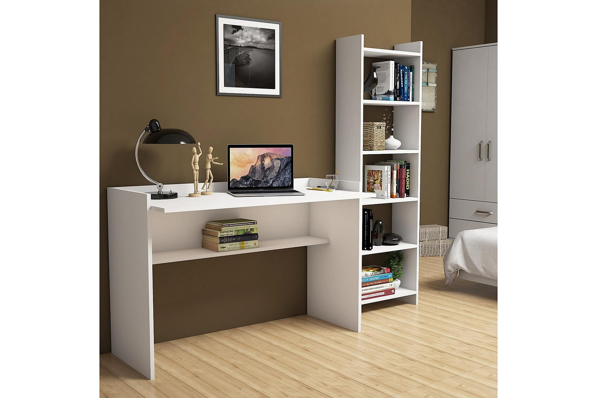 DARNEZ Skrivbord och Bokhylla 118 cm Vit, Datorbord
