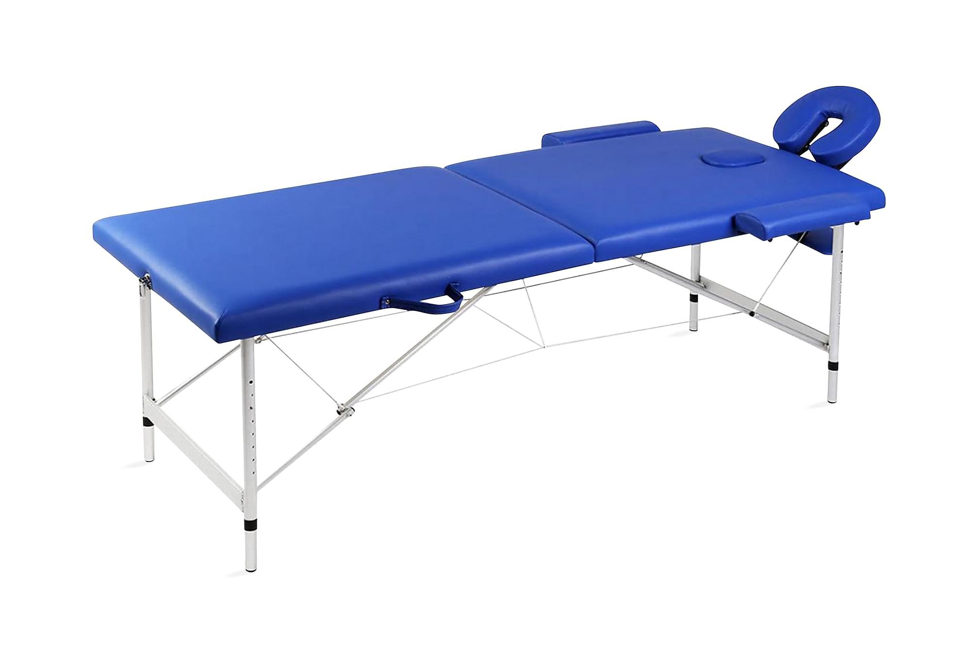 Blå hopfällbar 2-sektions massagebänk med aluminium ram, Massagebord
