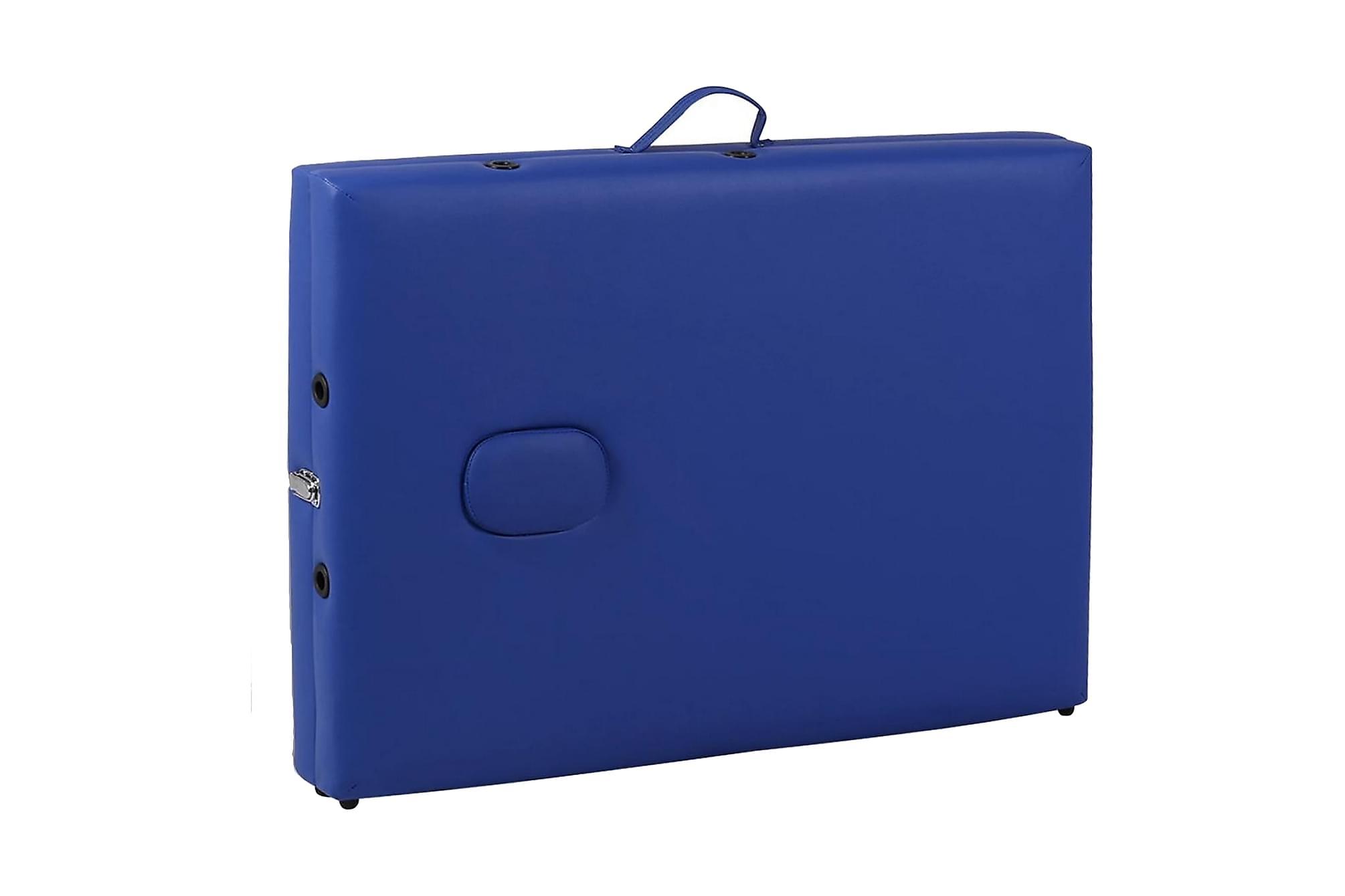 Blått vikbart massagebord med 2 zoner och träram, Massagebord