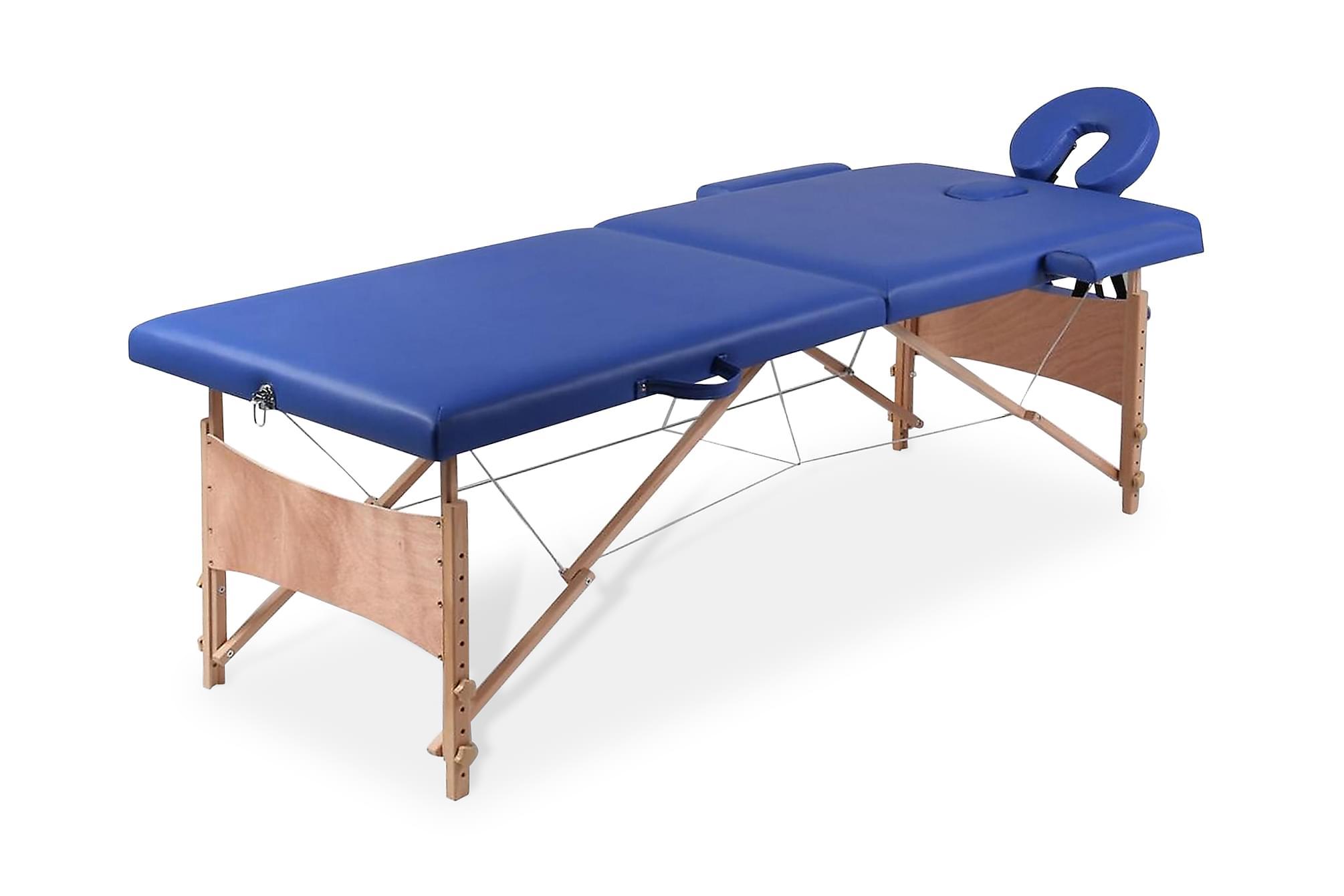 Blått vikbart massagebord med 2 zoner och träram