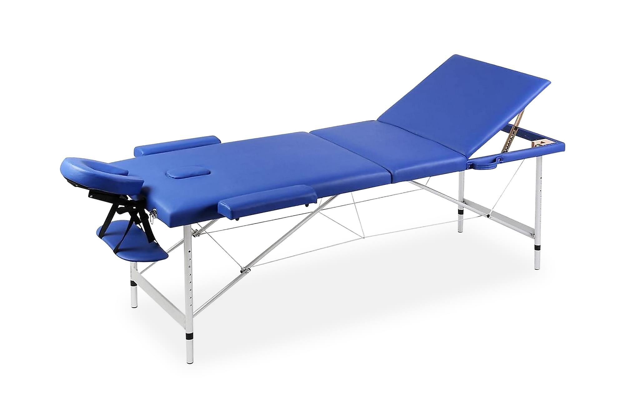 Hopfällbar 3-sektions massagebänk med aluminium ram blå, Massagebord