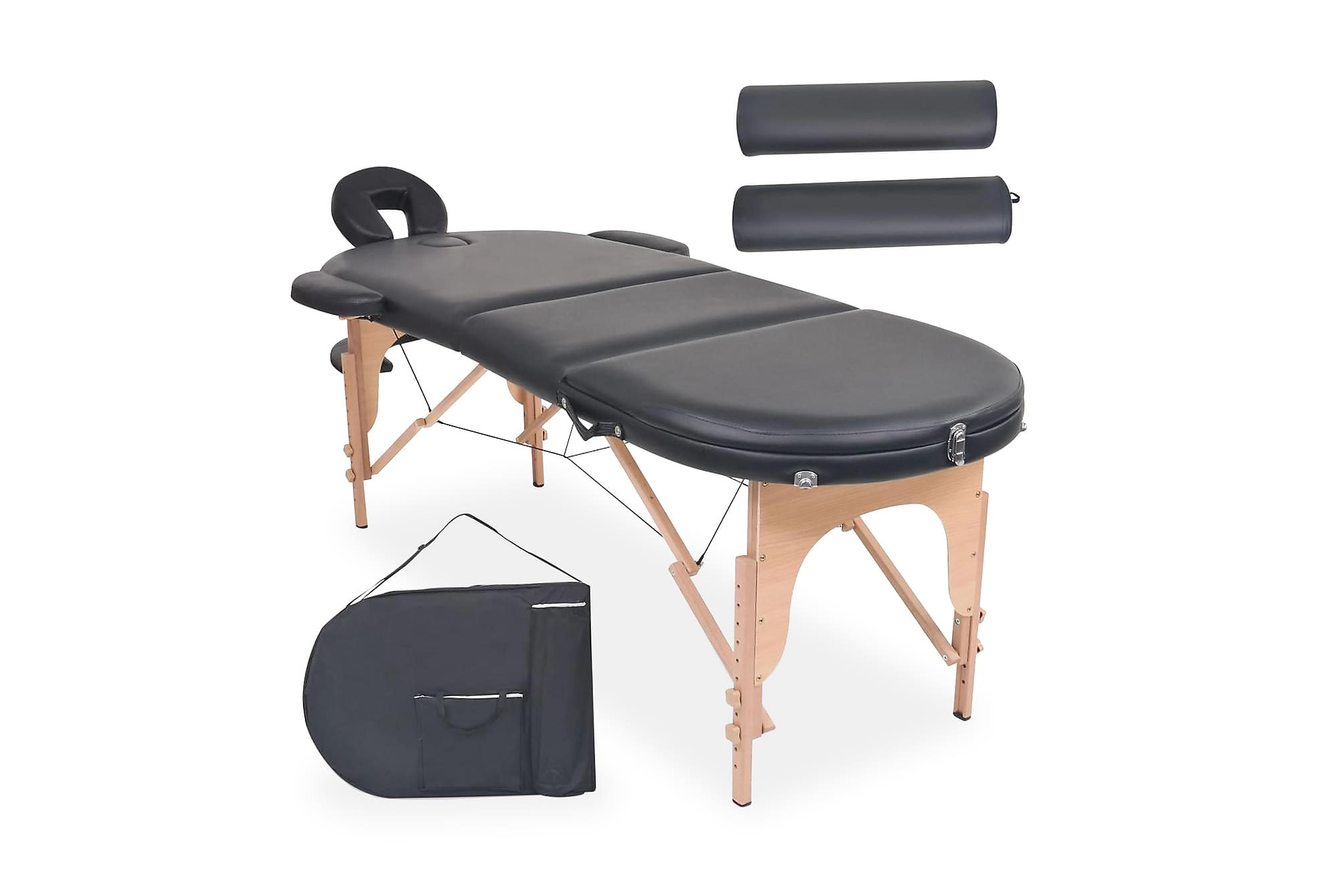 Hopfällbar massagebänk 10 cm tjock med 2 bolster oval svart