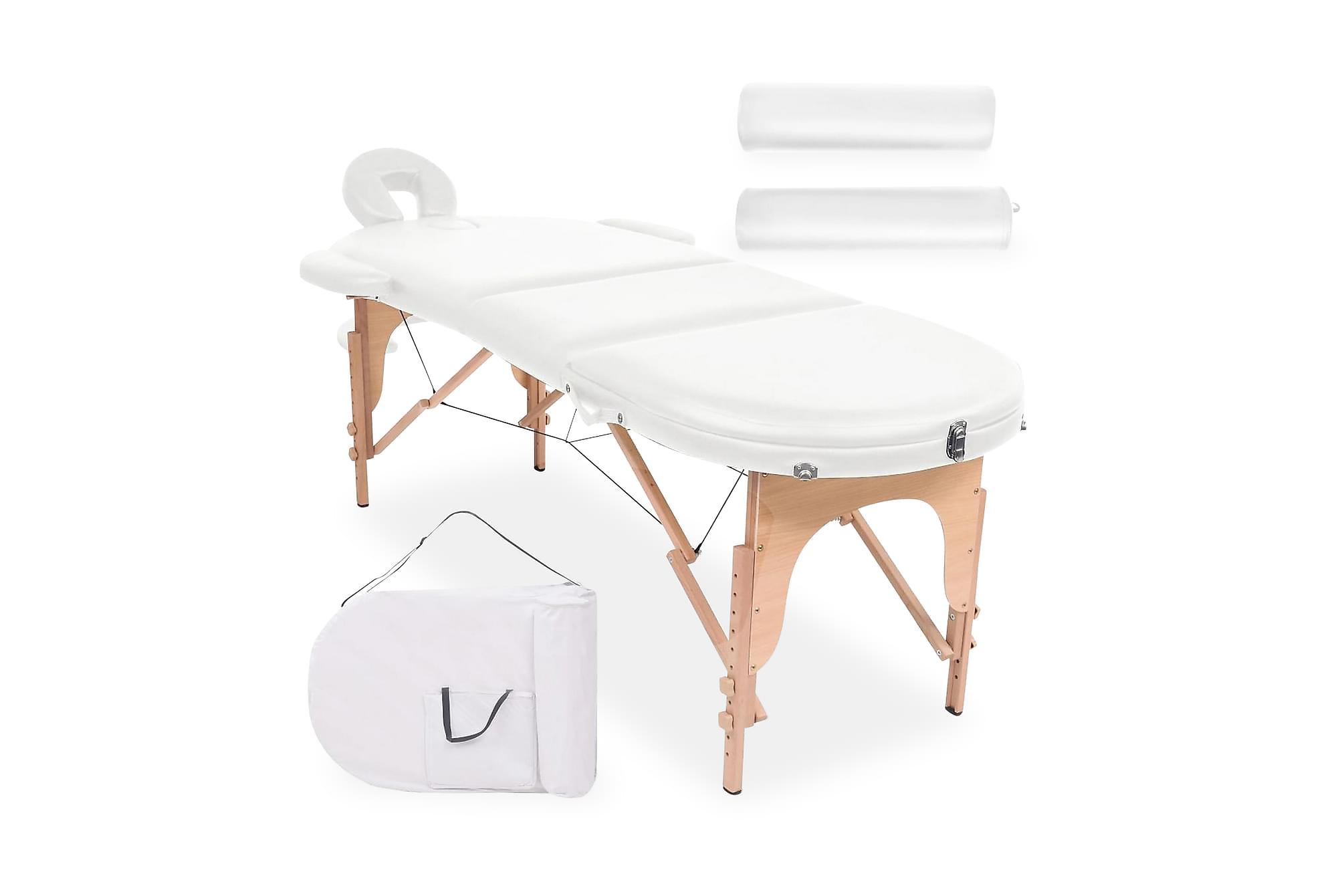 Hopfällbar massagebänk 10 cm tjock med 2 bolster oval vit