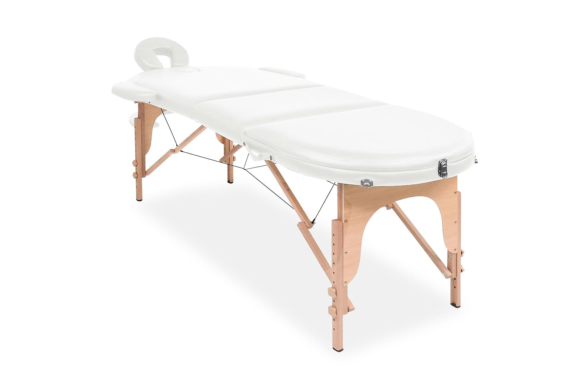Hopfällbar massagebänk 10 cm tjock med 2 bolster oval vit, Massagebord