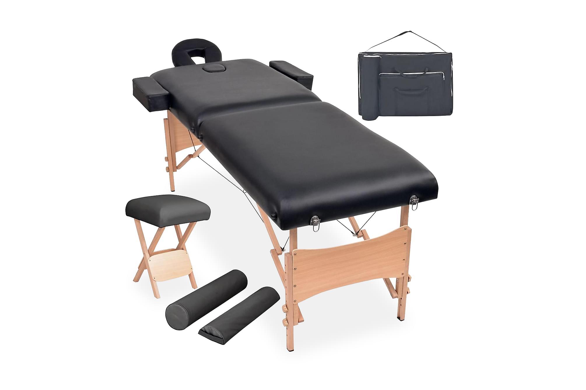 Hopfällbar massagebänk 2-delad+pall set svart