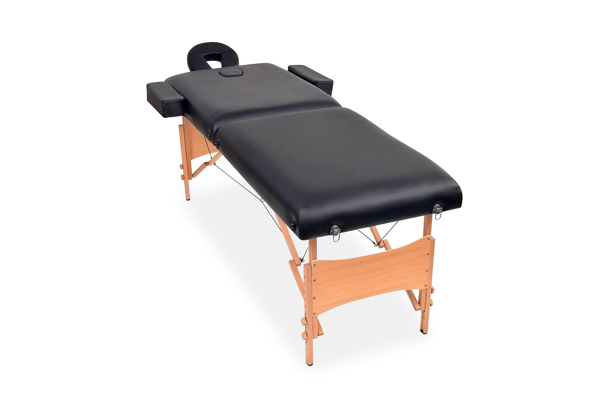 Hopfällbar massagebänk 2 sektioner 10 cm tjock svart, Massagebord