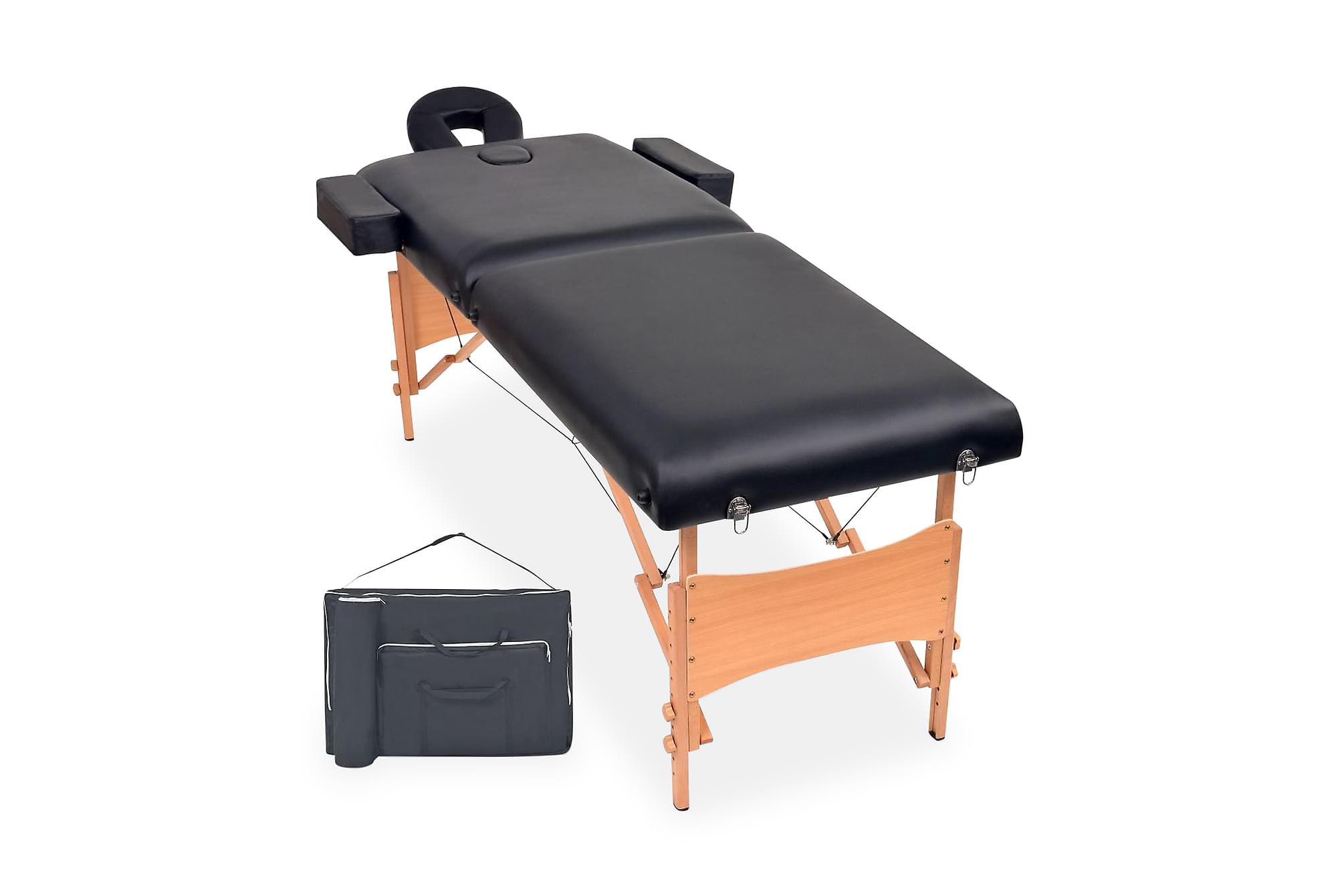 Hopfällbar massagebänk 2 sektioner 10 cm tjock svart