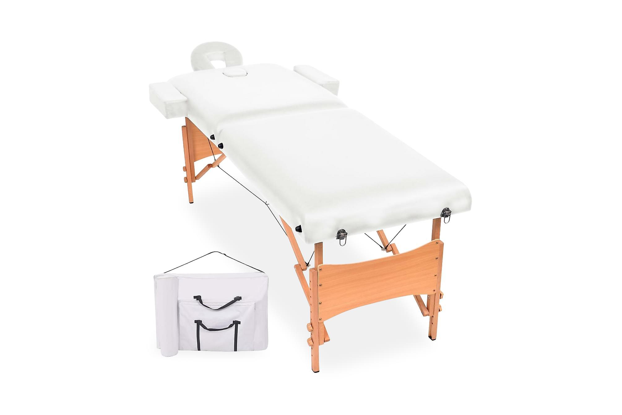 Hopfällbar massagebänk 2 sektioner 10 cm tjock vit