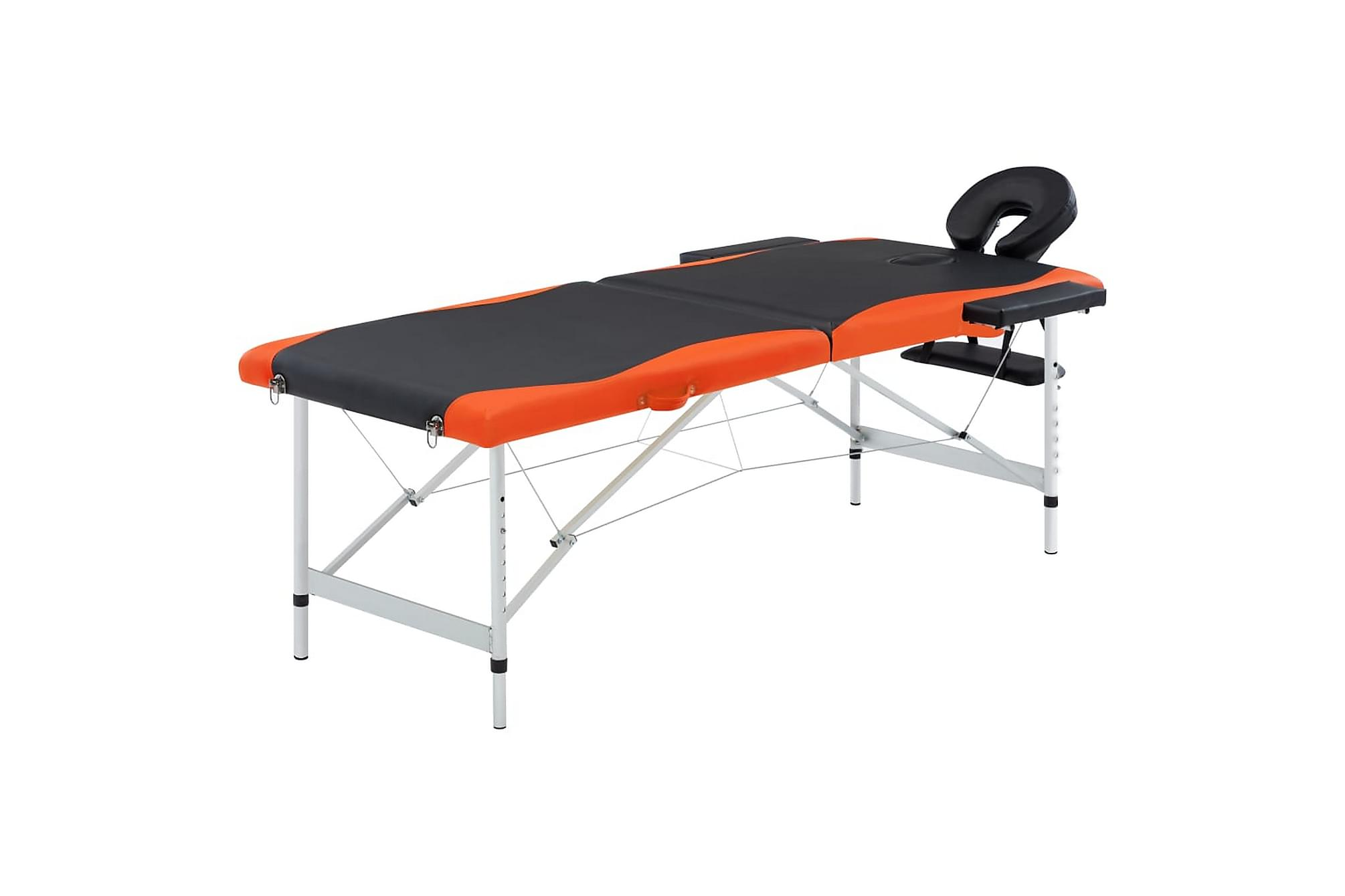 Hopfällbar massagebänk 2 sektioner aluminium svart & orange, Massagebord