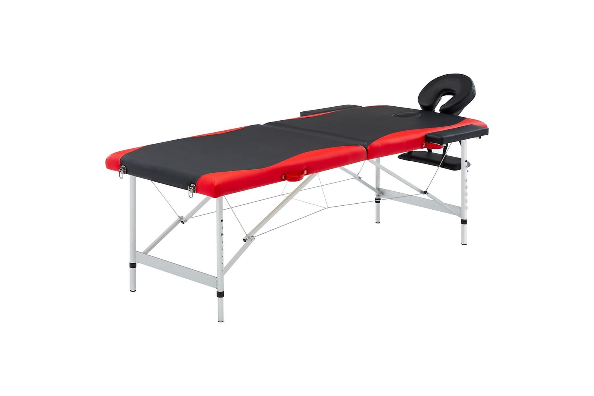 Hopfällbar massagebänk 2 sektioner aluminium svart och röd, Massagebord