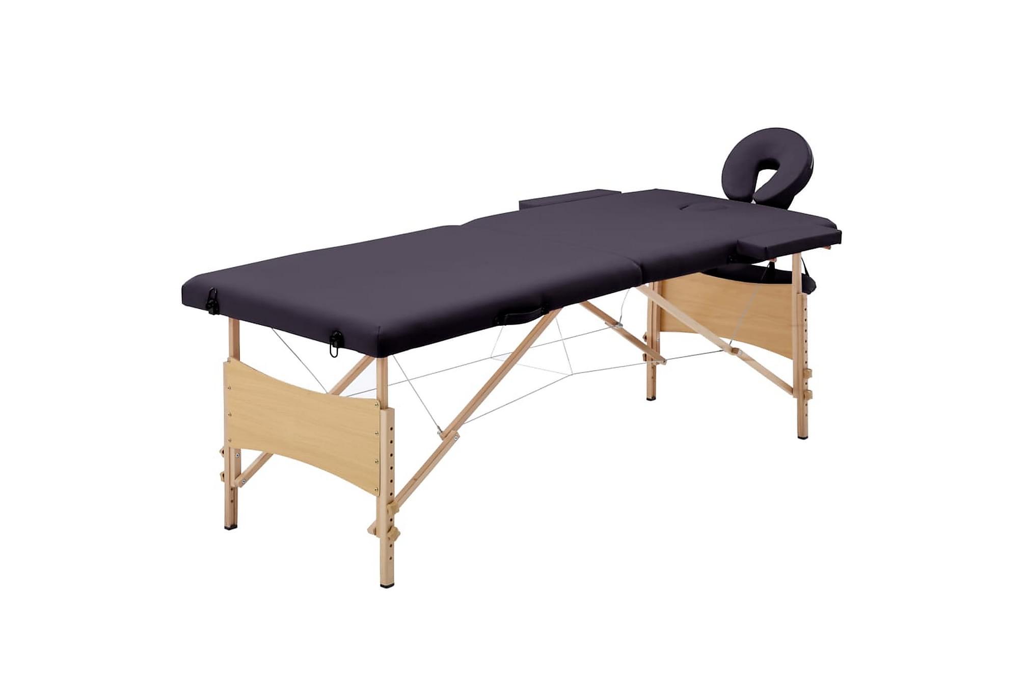 Hopfällbar massagebänk 2 sektioner trä mörklila, Massagebord
