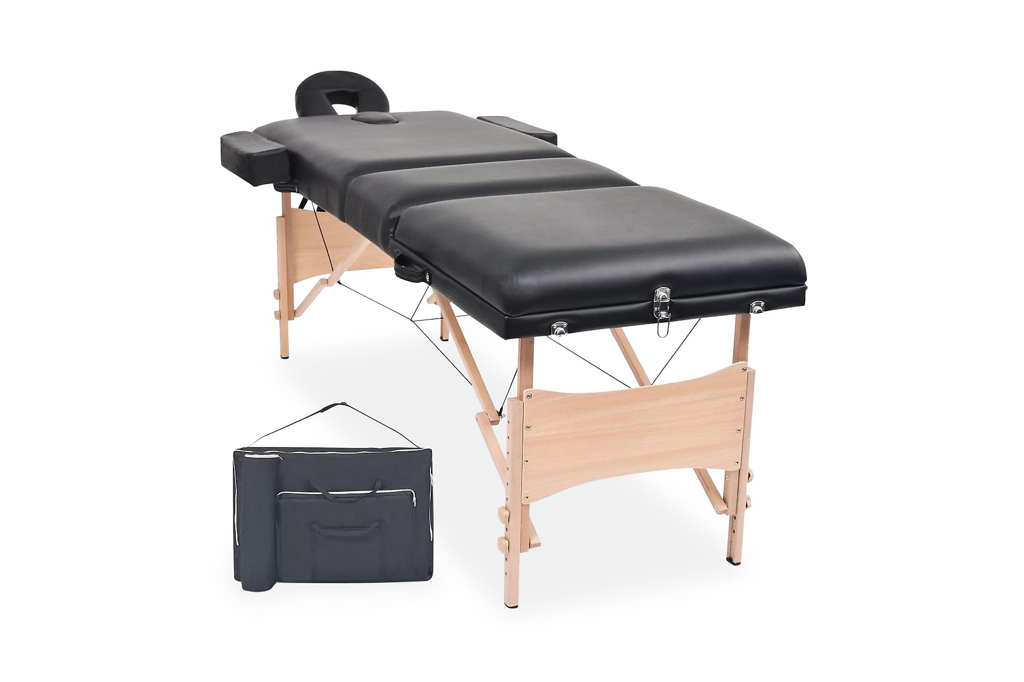 Hopfällbar massagebänk 3 sektioner 10 cm tjock svart