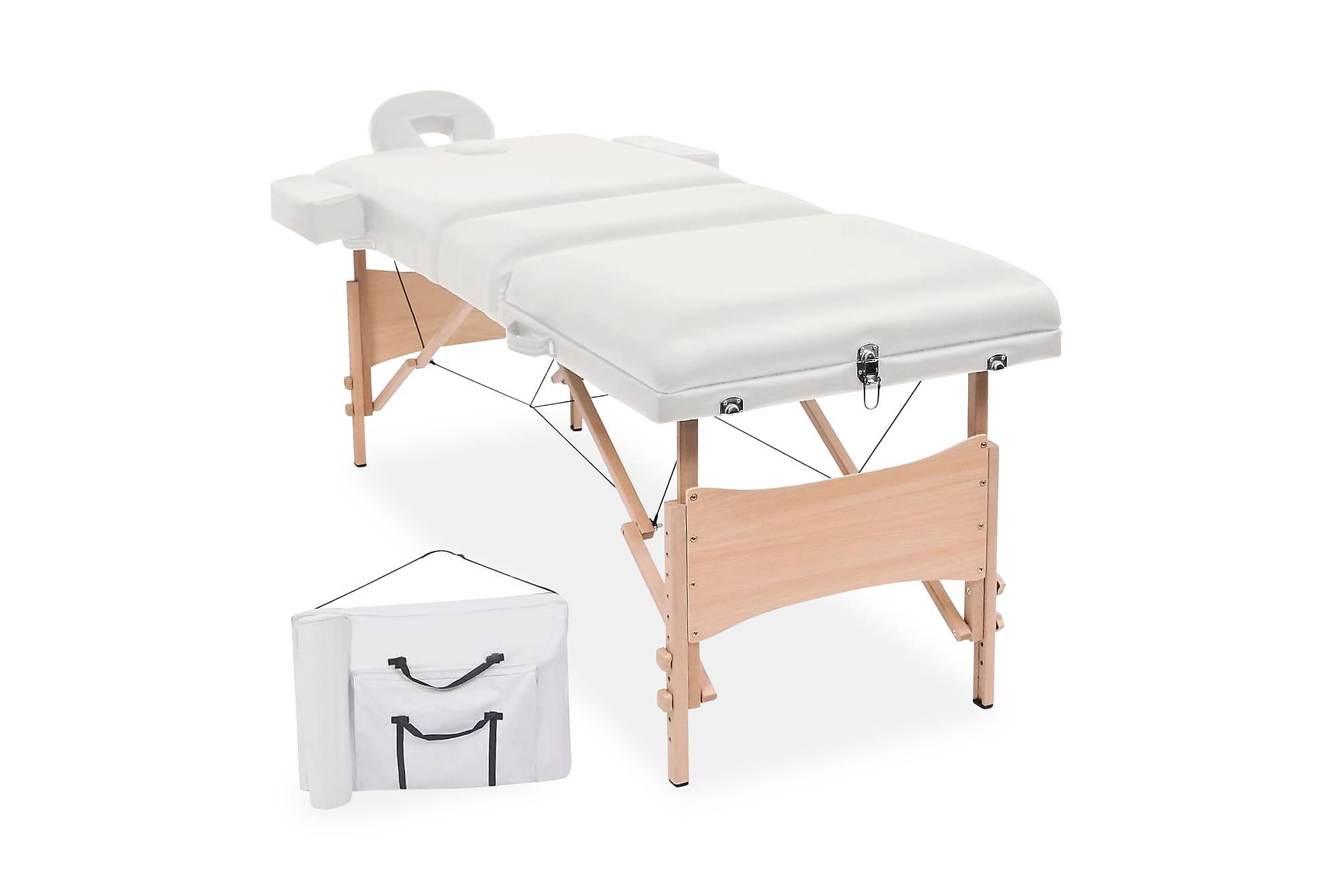 Hopfällbar massagebänk 3 sektioner 10 cm tjock vit