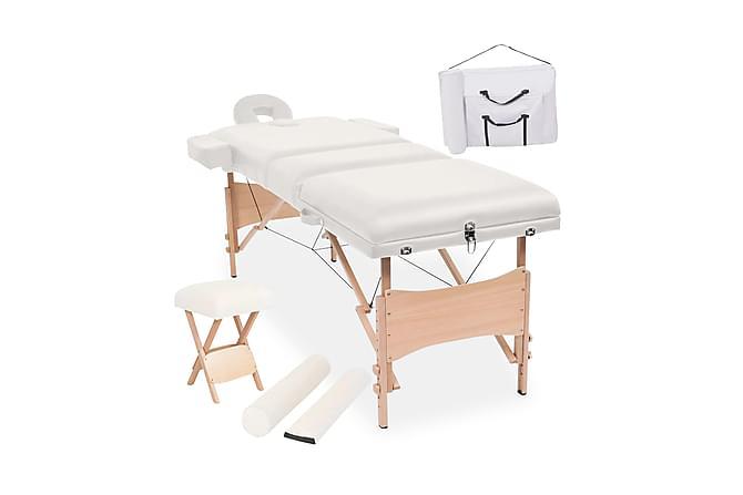 Hopfällbar massagebänk 3 sektioner & pall set 10cm tjock vit - Trä Vit - Möbler & Inredning - Bord - Massagebord