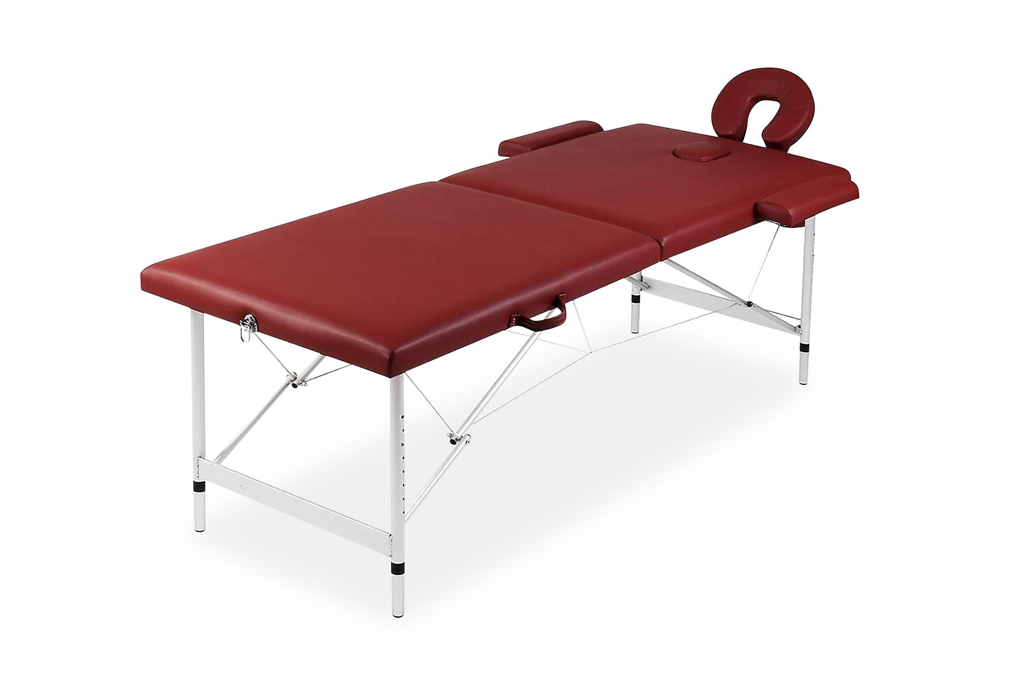 Hopfällbar massagebänk med 2 sektioner aluminium röd