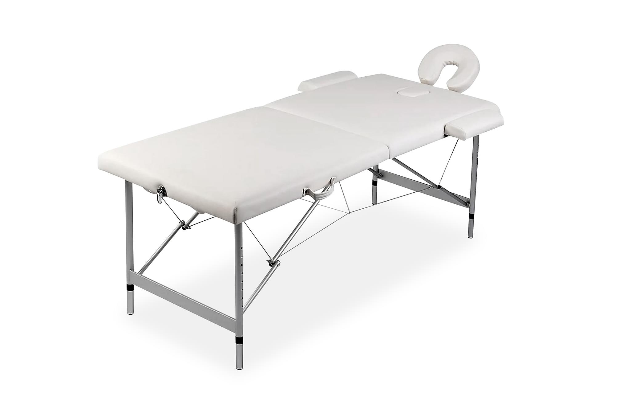 Hopfällbar massagebänk med 2 sektioner aluminiumram gräddvit