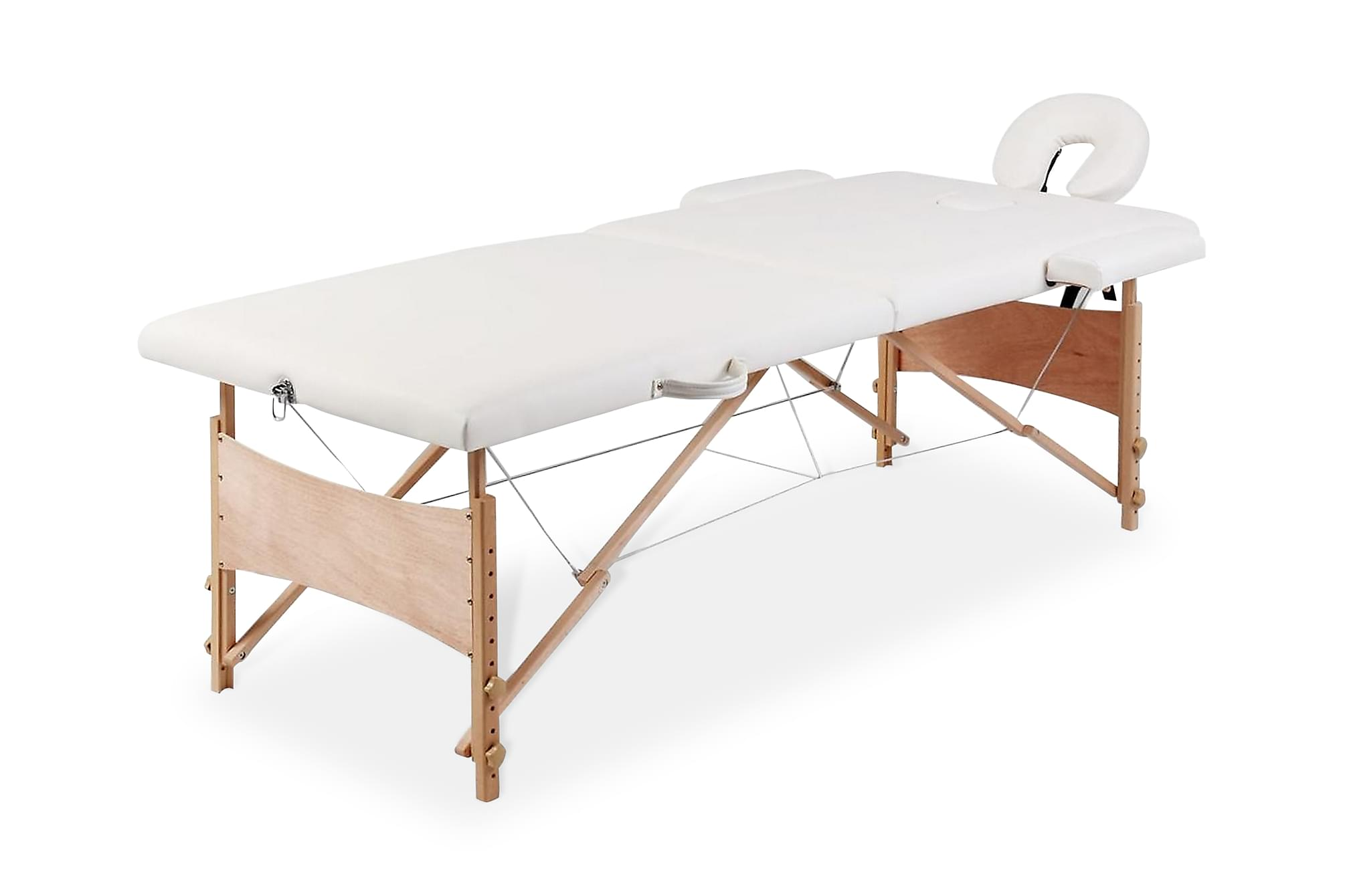 Hopfällbar massagebänk med 2 sektioner träram gräddvit