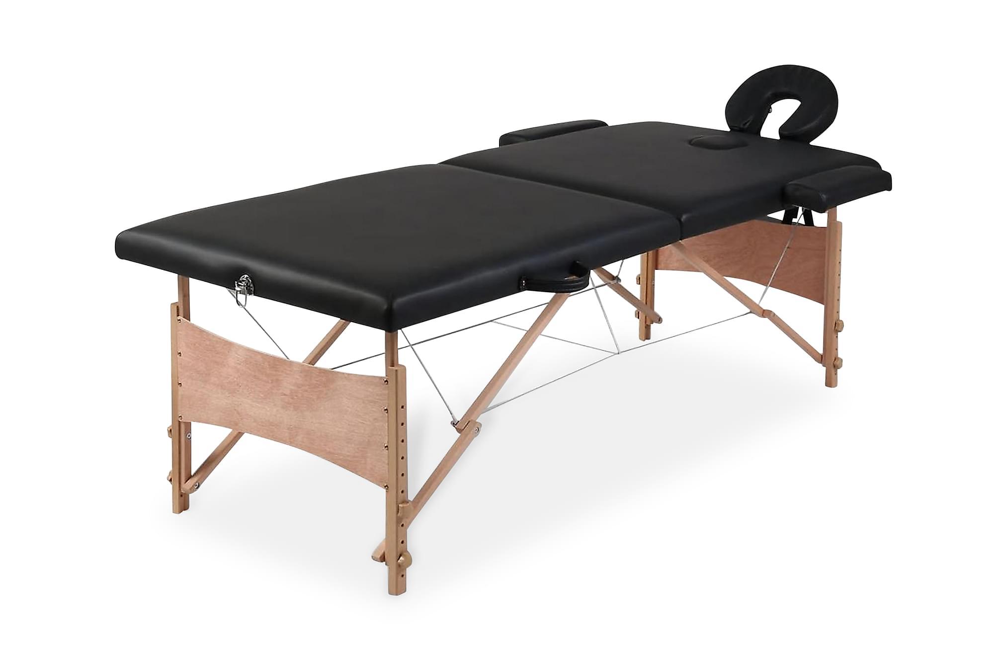 Hopfällbar massagebänk med 2 sektioner träram svart