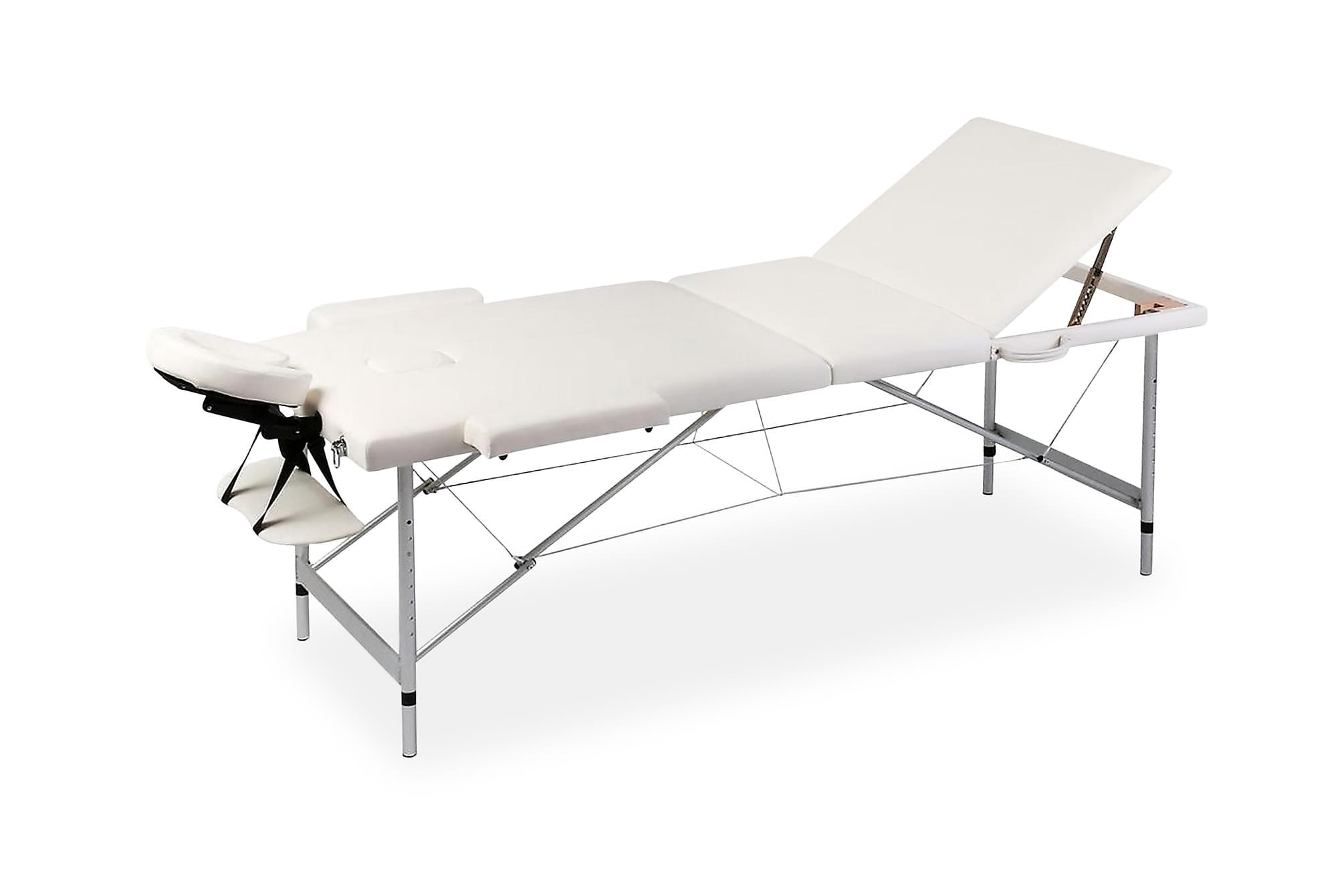 Hopfällbar massagebänk med 3 sektioner aluminiumram gräddvit