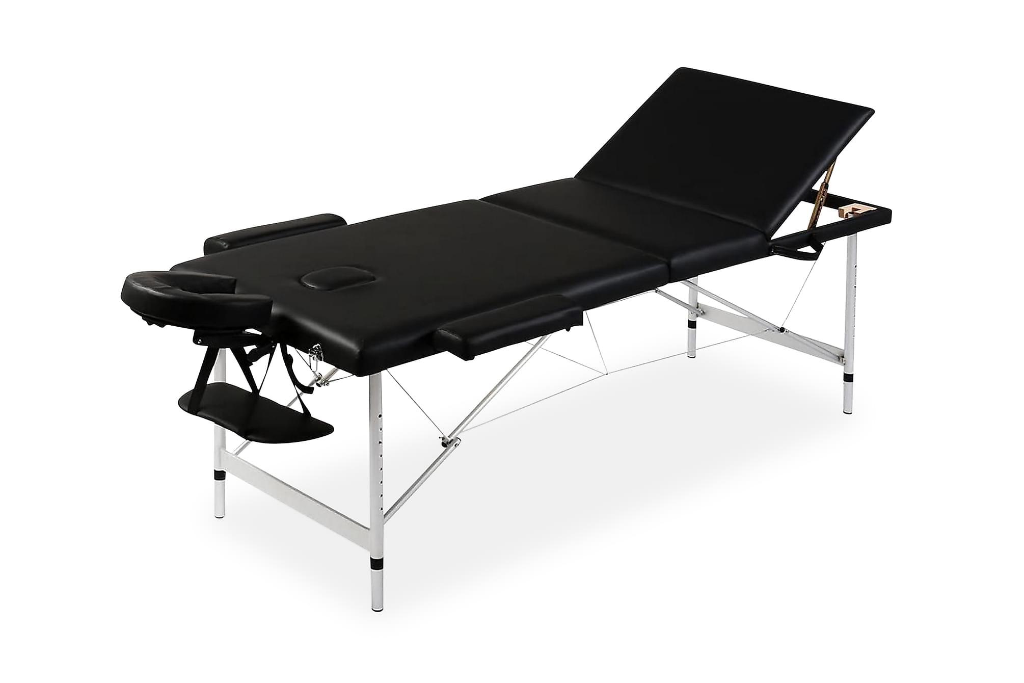 Hopfällbar massagebänk med 3 sektioner aluminiumram svart