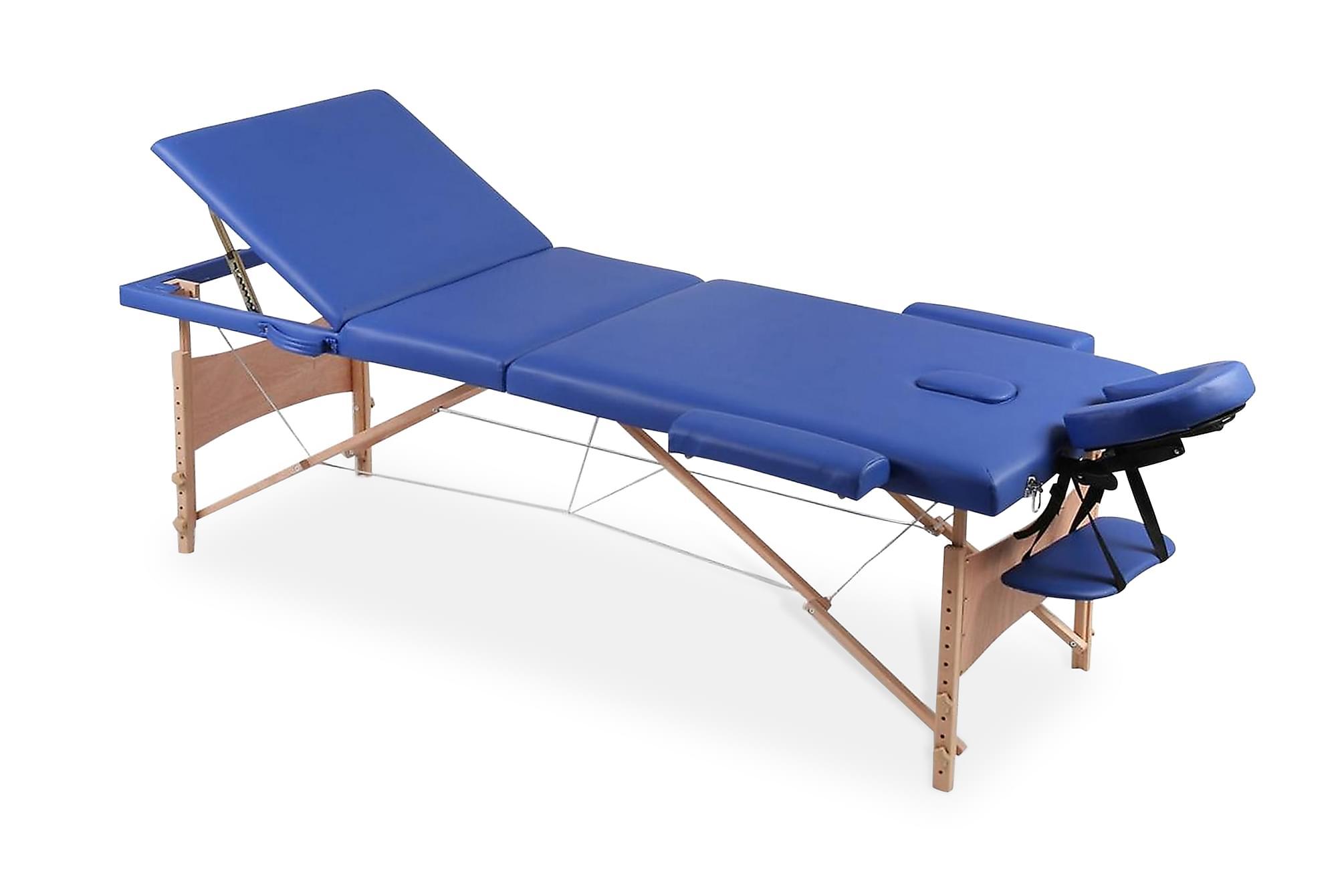 Hopfällbar massagebänk med 3 sektioner träram blå