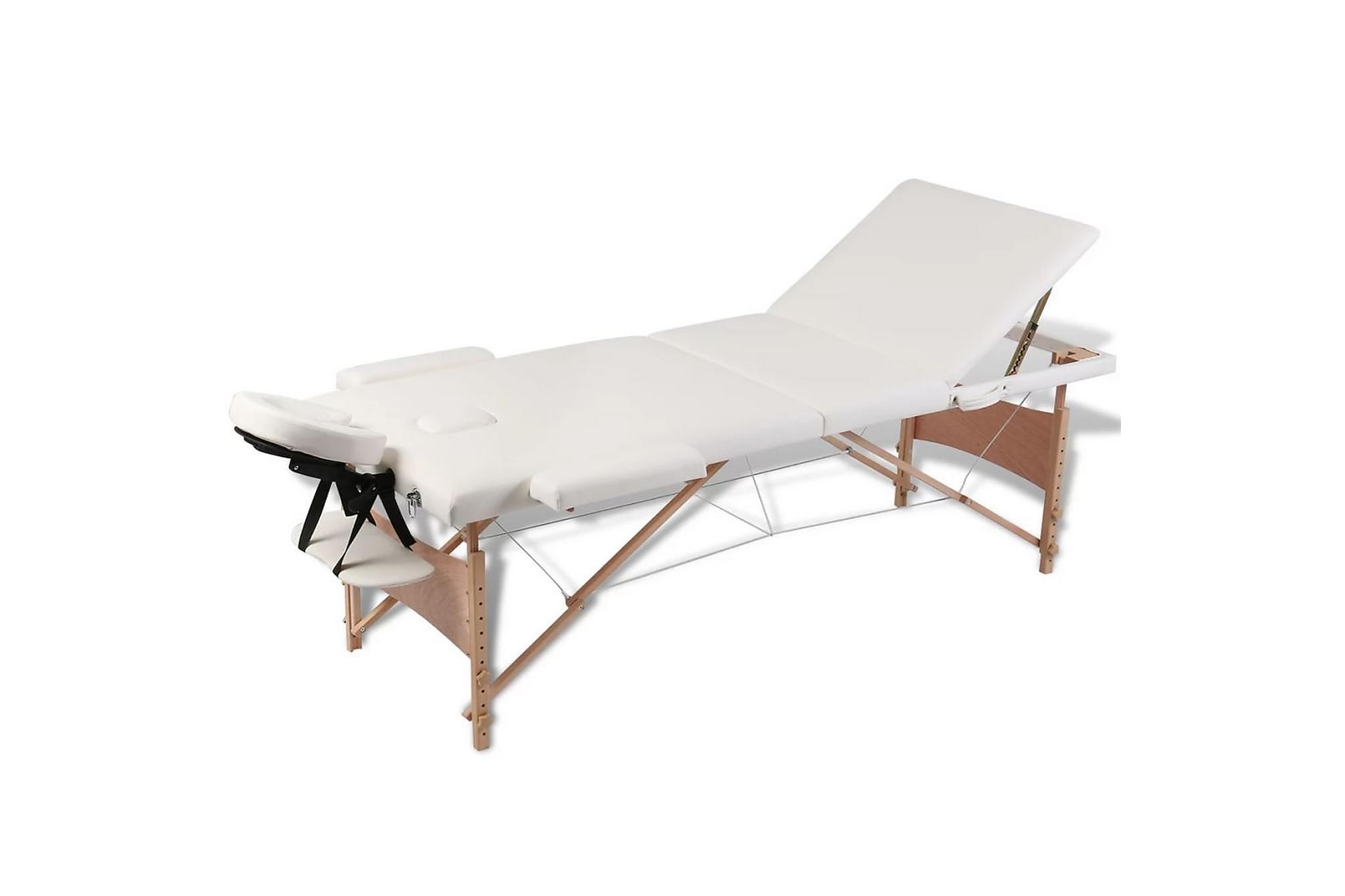 Hopfällbar massagebänk med 3 sektioner träram gräddvit