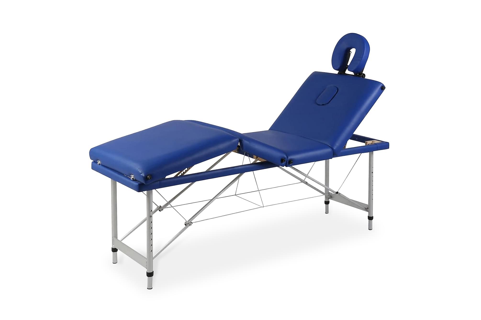 Hopfällbar massagebänk med 4 sektioner aluminium blå