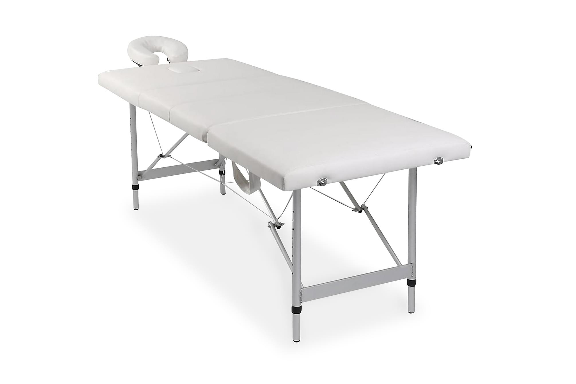 Hopfällbar massagebänk med 4 sektioner aluminiumram gräddvit