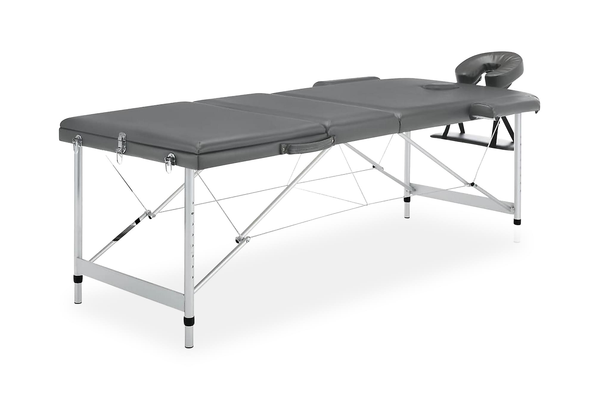 Massagebänk med 3 zoner aluminiumram antracit 186×68 cm