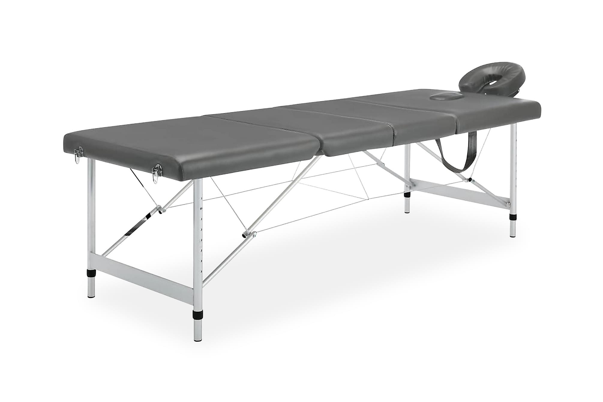 Massagebänk med 4 zoner aluminiumram antracit 186×68 cm