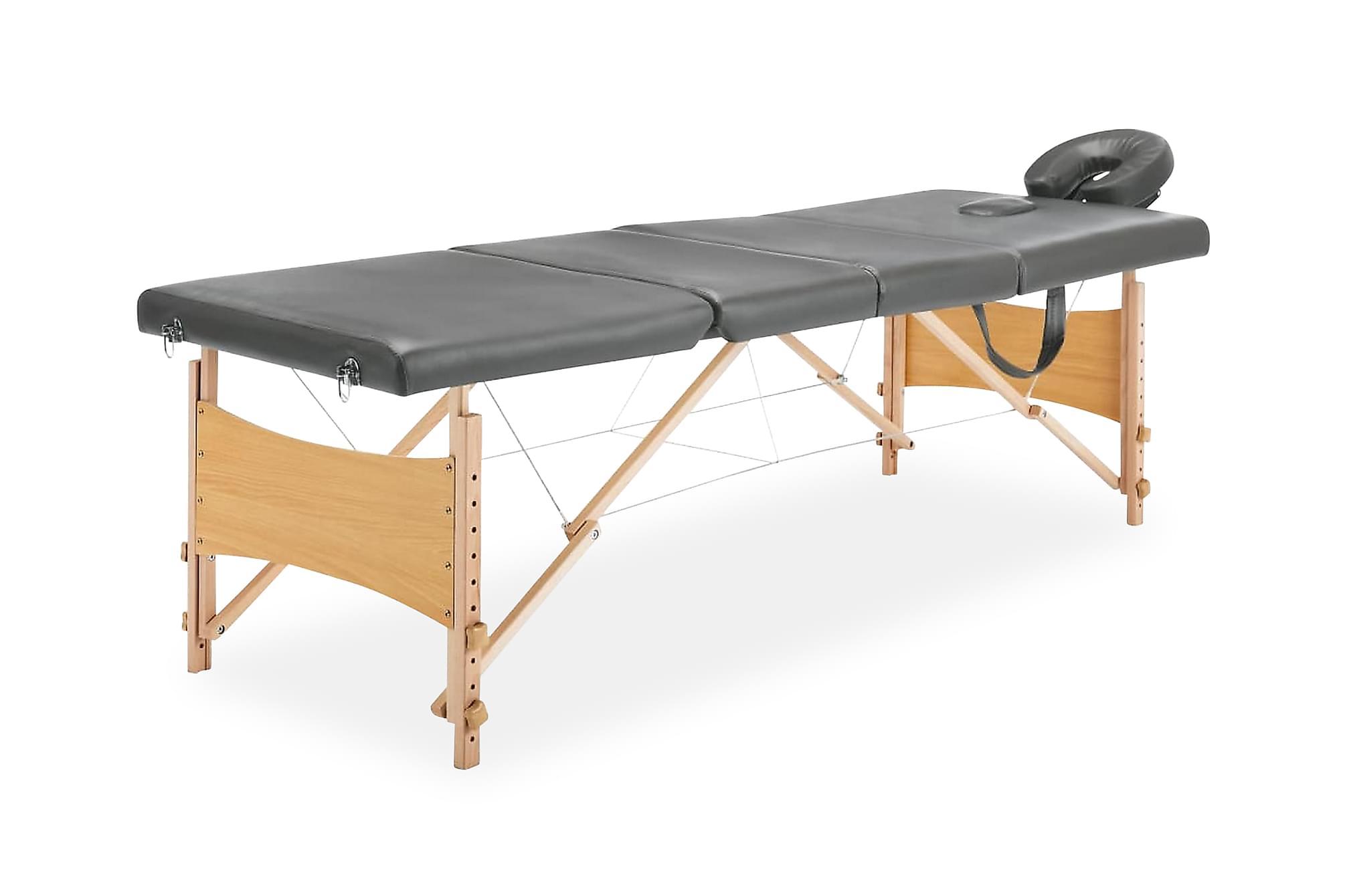 Massagebänk med 4 zoner träram antracit 186×68 cm