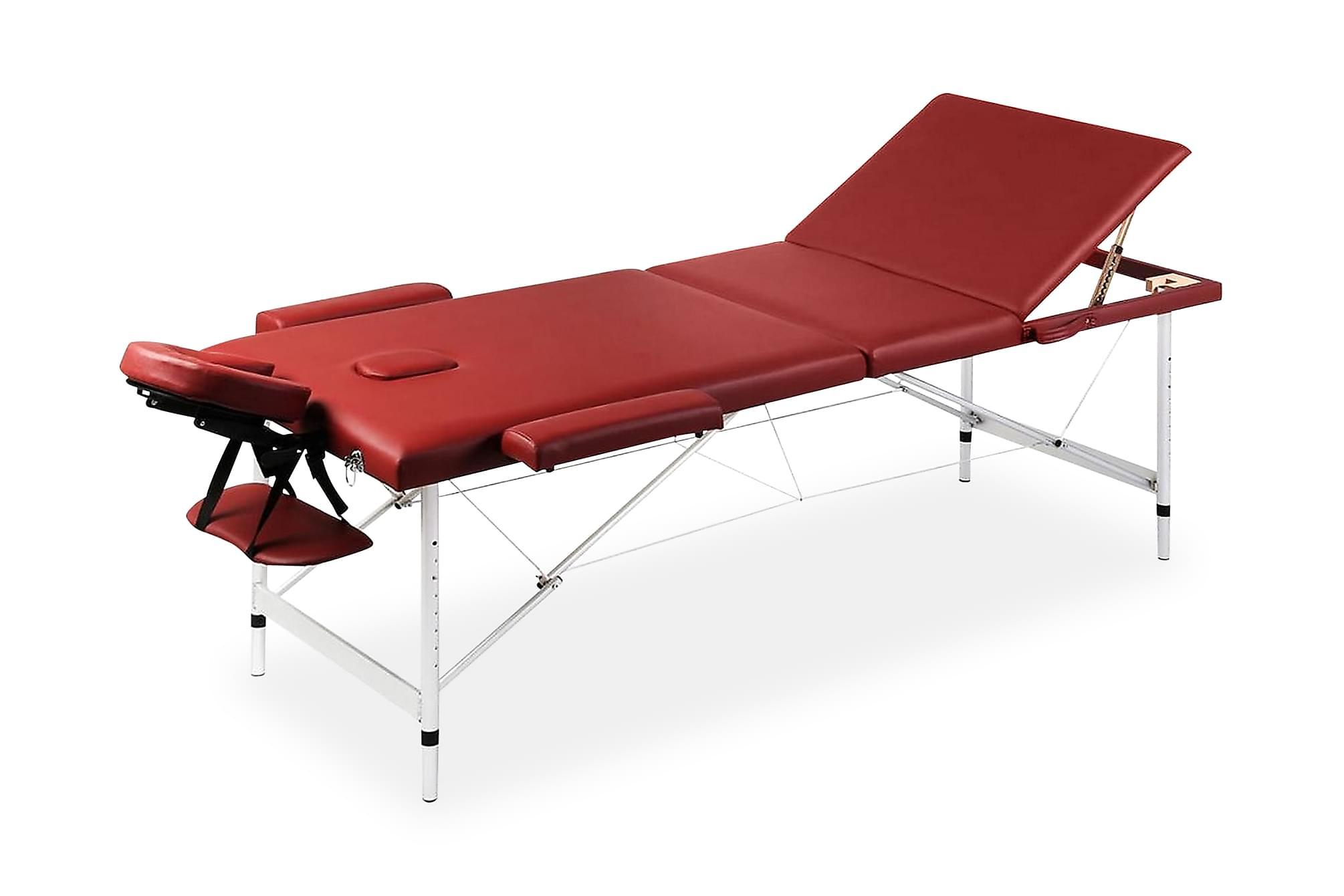 Röd hopfällbar 3-sektions massagebänk med aluminium ram