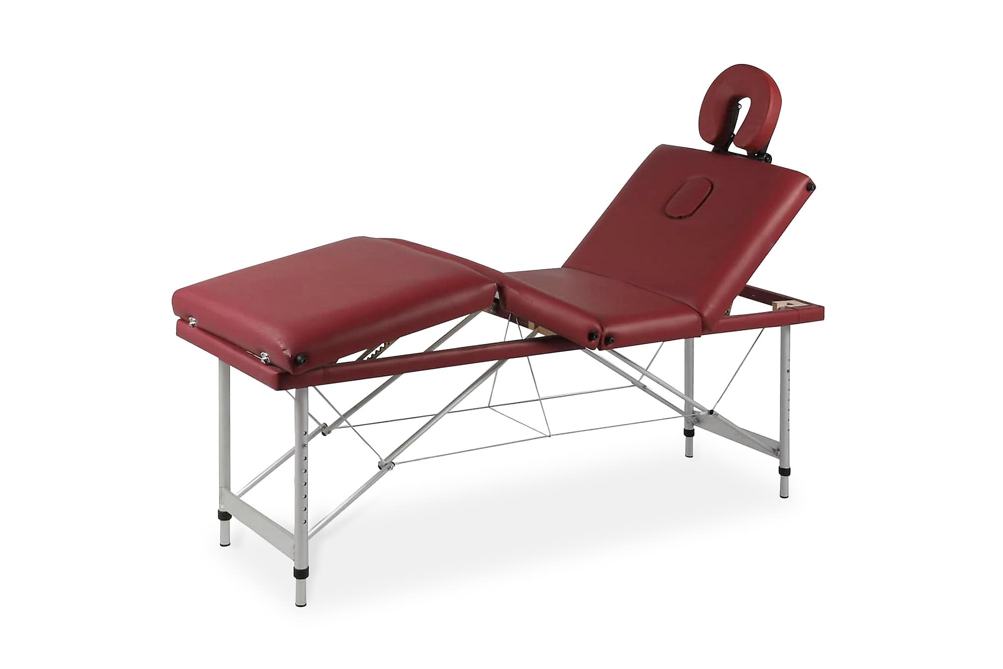 Röd hopfällbar 4-sektions massagebänk med aluminium ram