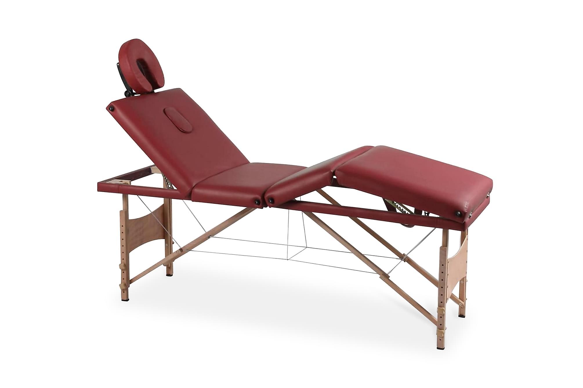 Röd hopfällbar 4-sektions massagebänk med träram