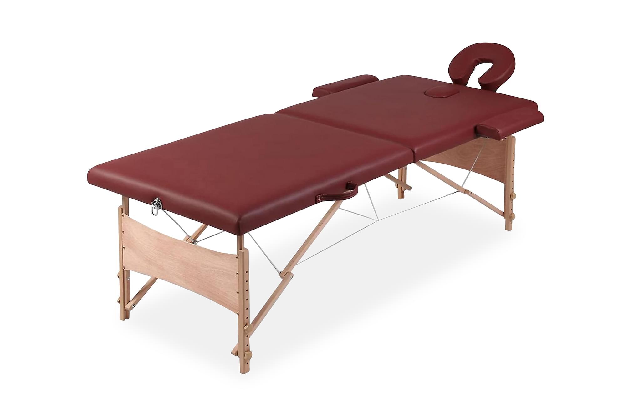 Rött vikbart massagebord med 2 zoner och träram