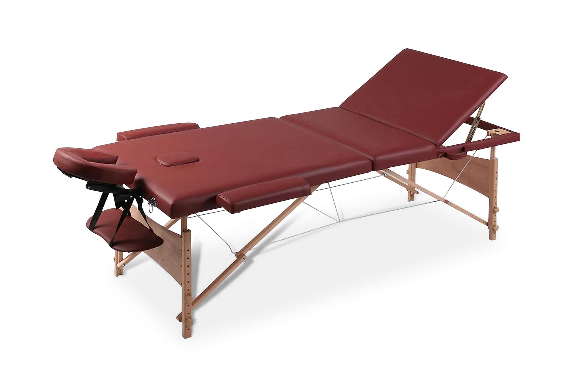 Rött vikbart massagebord med 3 zoner och träram