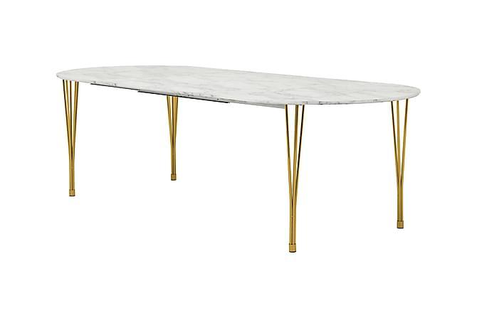 GEORGE Förlängningsbart Matbord 160 Ovalt Marmor/Mässing - Inomhus - Bord - Matbord